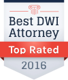 Best DWI Attorney Top Rated 2016 award